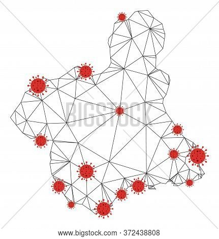 Polygonal Mesh Murcia Province Map With Coronavirus Centers. Abstract Net Connected Lines And Covid-