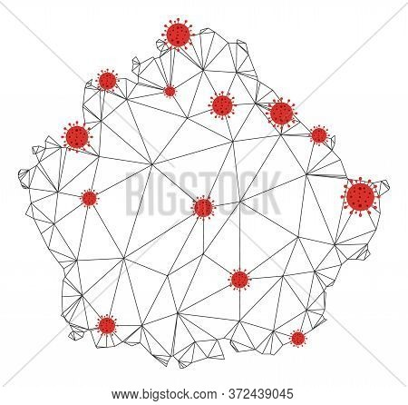 Polygonal Mesh Cuenca Province Map With Coronavirus Centers. Abstract Network Connected Lines And Fl