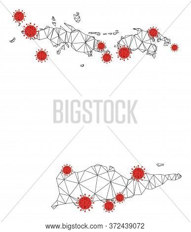Polygonal Mesh Usa Virgin Islands Map With Coronavirus Centers. Abstract Mesh Connected Lines And Co