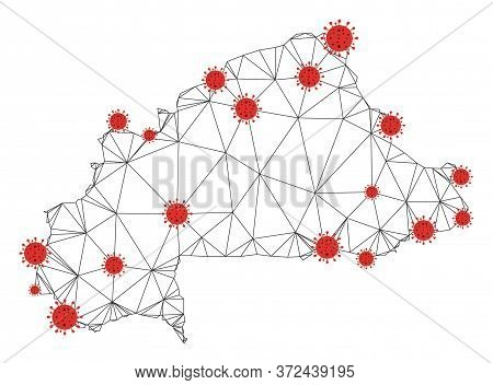Polygonal Mesh Burkina Faso Map With Coronavirus Centers. Abstract Network Connected Lines And Covid