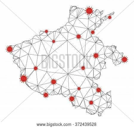 Polygonal Mesh Henan Province Map With Coronavirus Centers. Abstract Network Connected Lines And Cov
