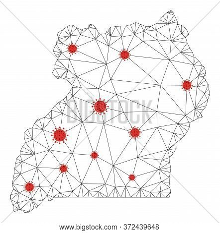 Polygonal Mesh Uganda Map With Coronavirus Centers. Abstract Network Connected Lines And Flu Viruses