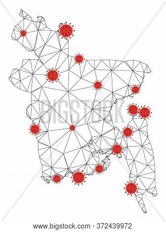 Polygonal Mesh Bangladesh Map With Coronavirus Centers. Abstract Network Connected Lines And Flu Vir