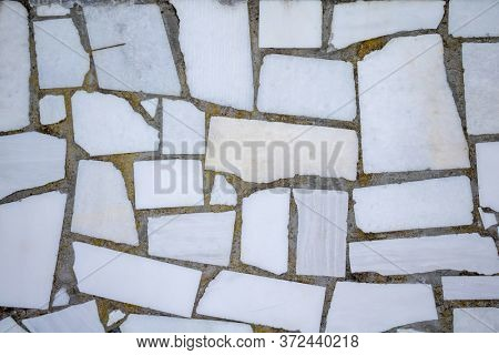 Vintage gray, white color marble stone floor background and texture, outdoor flooring grunge material