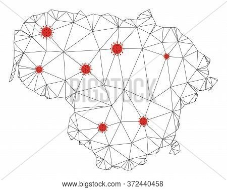 Polygonal Mesh Lithuania Map With Coronavirus Centers. Abstract Network Connected Lines And Covid- 2