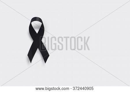 Melanoma And Skin Cancer Awareness Ribbon. Realistic Black Ribbon. May Is Cancer Awareness Month
