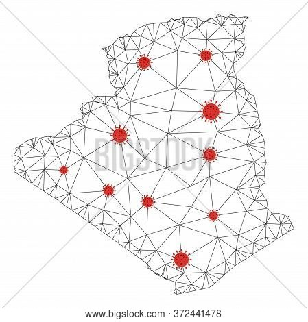 Polygonal Mesh Algeria Map With Coronavirus Centers. Abstract Network Connected Lines And Covid Viru