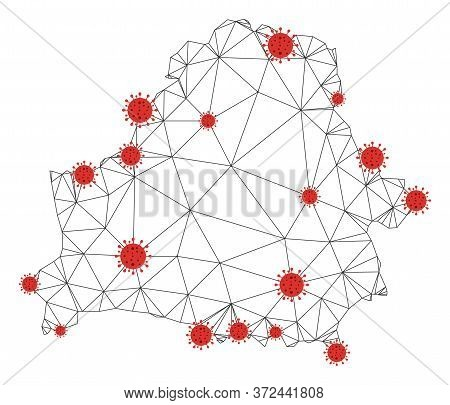 Polygonal Mesh Belarus Map With Coronavirus Centers. Abstract Network Connected Lines And Covid- 201