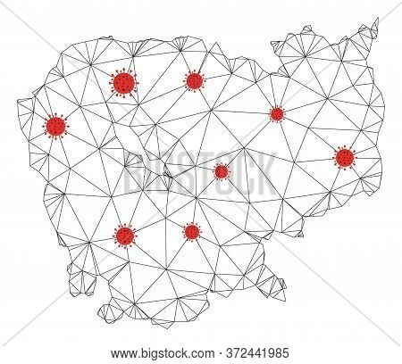 Polygonal Mesh Cambodia Map With Coronavirus Centers. Abstract Network Connected Lines And Flu Virus