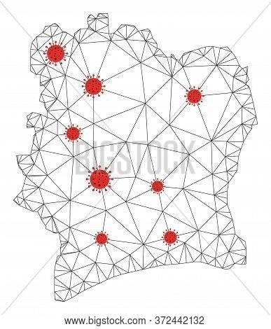 Polygonal Mesh Ivory Coast Map With Coronavirus Centers. Abstract Network Connected Lines And Flu Vi