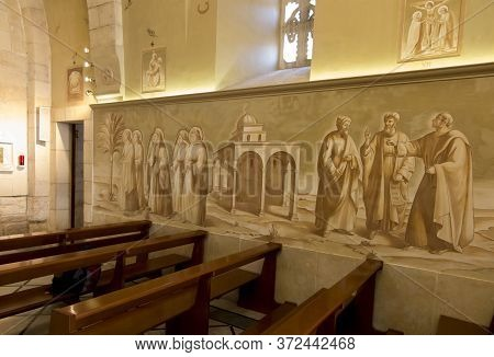 Bethphage, Israel, January 30, 2020: Fresco At The Sanctuary Of Betfage On The Mount Of Olives In Th