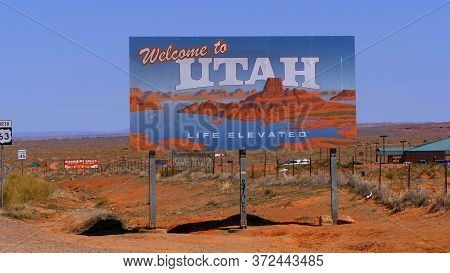 Welcome To Utah Street Sign- Utah, United States - March 20, 2019