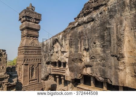 Pillar At Kailasa Temple In Ellora, Maharasthra State, India