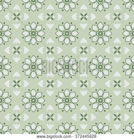 Retro Vintage Chinese Traditional Pattern Seamless Background Elegant Green Cross Flower Kaleidoscop