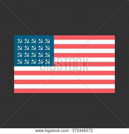 Socialist Flag Of The Usa With Hammers And Sickles