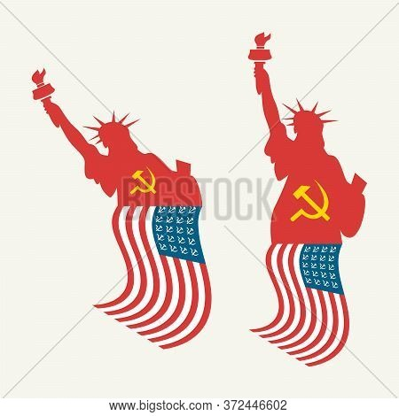 Usa Statue Of Liberty With American Socialist Flag