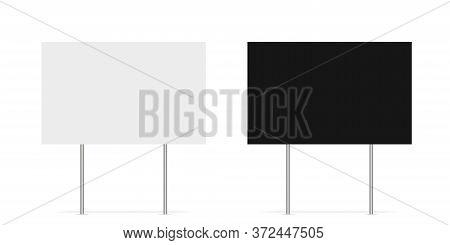 Yard Sign Vector Isolated Blank Element. Copy Space. Horizontal Advertising Banner. Mockup Horizonta