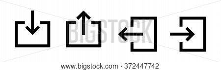 Login Arrow Vector Icon . Door Black Isolated Signs. Vector Isolated Icon. Sign In Sign Out Black Ve