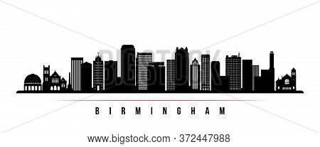 Birmingham Skyline Horizontal Banner. Black And White Silhouette Of Birmingham, Alabama. Vector Temp