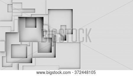 3d Rendering. Abstract Background. Modern Geometric Cubes In Ambient Occlusion In Light Tones. Minim