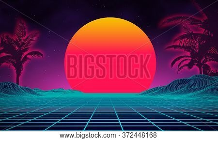 Retro Background Futuristic Landscape With Palm Tree Silhouette 1980s Style. Digital Retro Palms Lan