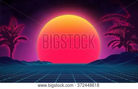 Retro Background Futuristic Landscape 1980s Style. Digital Retro Landscape Cyber Surface. 80s Party