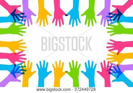 Hands Up. Vector Isolated Illustation. Raised Vector Colored Hands. Volunteering Education Business