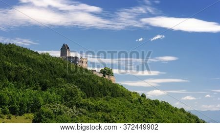 Castle Ruins Of Topolcany, Old Castle Breakaway In Slovakia, Ancient Fortress, Tower In Ruins, Povaz