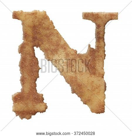 Rusty Coarse Baked Sand Letter Isolated On White Background.
