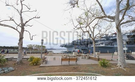 San Diego Seaport Village At The Oceanfront - San Diego, Usa - March 18, 2019