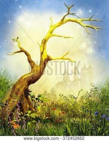Magical Enchanting Forest Opening With A Prominent Lonely Barren Tree Surrounded By Lush Foilage And