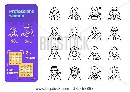 Professions Women Pixel Perfect Vector Illustration. Set Of Different Occupation For Female Flat Sty