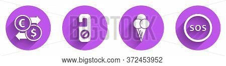 Set Money Exchange, Please Do Not Disturb, Ice Cream In Waffle Cone And Location With Sos Icon With