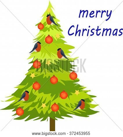 Decorated Christmas Tree With Bullfinches Isolate On White Vector Drawing