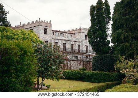 Beautiful, Medieval Building In Spanish Garden, Vigo Spain.