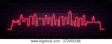 Red Neon Skyline Of Minneapolis City  City. Bright Minneapolis City  Long Banner. Vector Illustratio
