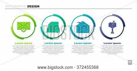 Set Envelope And Check Mark, Drawer With Document, Envelope And Mail Box. Business Infographic Templ