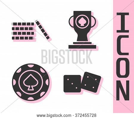 Set Game Dice, Casino Chips, Casino Chips And Casino Poker Trophy Cup Icon. Vector