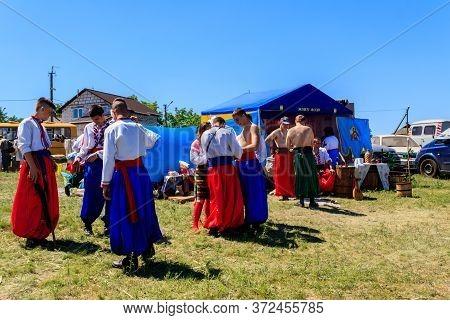 Dnipropetrovsk Region, Ukraine - June 2, 2018: Unknown People During Outdoor Free Ethno-rock Festiva