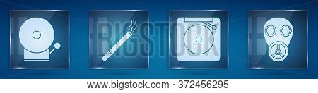 Set Ringing Alarm Bell, Cigarette, Ringing Alarm Bell And Gas Mask. Square Glass Panels. Vector