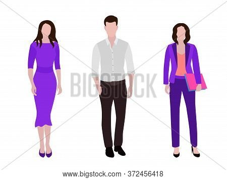 Business People Group Human Resources Flat Vector Illustration Set. Company Staff Business Team. Gro