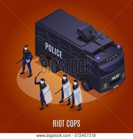 Riot Cops And Water Cannon Illustration Isometric Icons On Isolated Background
