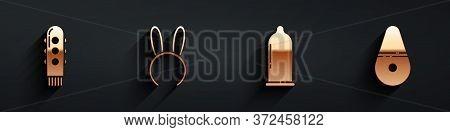 Set Dildo Vibrator, Mask With Long Bunny Ears, Condom And Dildo Vibrator Icon With Long Shadow. Vect