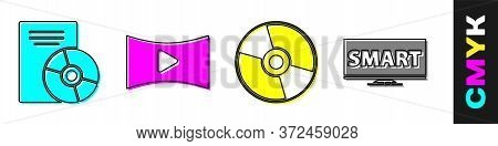 Set Cd Or Dvd Disk, Online Play Video, Cd Or Dvd Disk And Screen Tv With Smart Video Icon. Vector