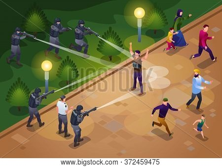 Anti Terror Special Police Forces Neutralize Suicide Bombing Attack Illustration Isometric Icons On