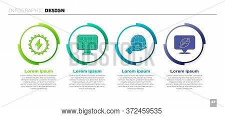 Set Solar Energy Panel, Solar Energy Panel, Hand Holding Earth Globe And Location With Leaf. Busines