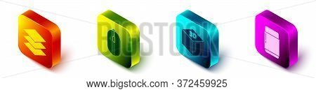 Set Isometric Layers, Computer Mouse, Isometric Cube And Eraser Or Rubber Icon. Vector