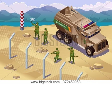 Border Patrol Inspects Border Barrier With Special Vehicles Illustration Isometric Icons On Isolated