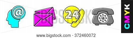 Set Mail And E-mail, Envelope, Telephone 24 Hours Support And Telephone Icon. Vector