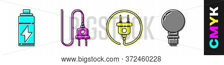 Set Battery, Electric Plug, Electric Plug And Light Bulb With Concept Of Idea Icon. Vector